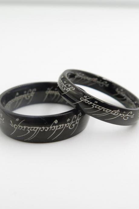 2pcs Black Lord Of The Rings Stainless Steel Rings, Wedding Couple Rings, His And Hers Wedding Ring Sets, Promise Rings, Matching Rings